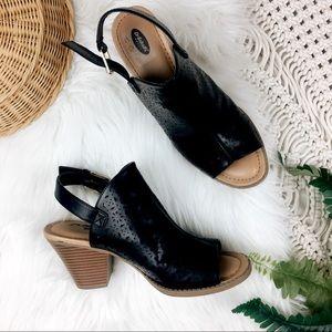 Dr Scholls • Black Peep Toe Heel Sandals
